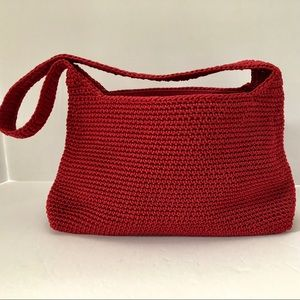 THE SAK Red Crochet Shoulder Handbag Zipper Top